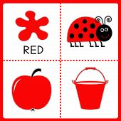 Learning Red Color. Ladybug, Apple And Bucket. Educational Cards