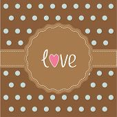 Brown Ribbon And Label With Word Love. Card.