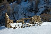 Ruined building in the French Alps