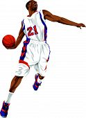 stock photo of slam  - Vector illustration of aggressive basketball player going for a slam dunk - JPG