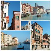 Collage Of Old Venice (italy) Famous Landmarks For Your Travel Design