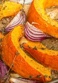 Roasted Pumpkin With Red Onion, Garlic And Thyme