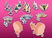 stock photo of tiara  - Jewelry tiaras earrings bracelet and ring vector illustration - JPG