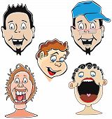 pic of wacky  - Funny laughing guys 5 faces vector illustration - JPG