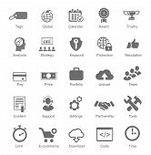 Set  silhouetted black and white SEO and internet icons for optimising a website on a computer each