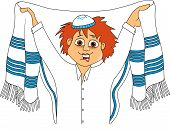 foto of sukkot  - Jewish teenager wears a tallit before prayer vector - JPG