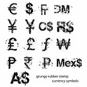 Grungy Rubber Stamp Currency Sign Symbols Set, Vector