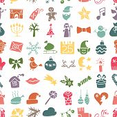 Christmas, New Year icons silhouette seamless pattern
