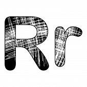 Grunge Scratch Letter R Alphabet Symbol Design On White.