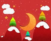 stock photo of crescent-shaped  - Crescent Moon in Chrismas Night and Pine tree - JPG