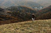 Traveler Man Walking In Mountains