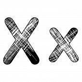 Grunge Scratch Letter X Alphabet Symbol Design On White.