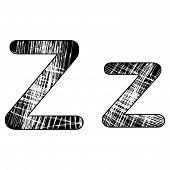 Grunge Scratch Letter Z Alphabet Symbol Design On White.
