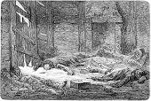 Dutch Died Of Scurvy In Spitsbergen, Vintage Engraving. poster