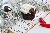 Cupcake Lamb With Calendar As Simbol 2015 New Years Isolated