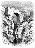 Roman Bridge In Ronda, Vintage Engraving.