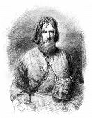 image of beggar  - Pilgrim beggar vintage engraved illustration - JPG