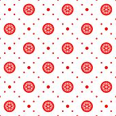 Seamless pattern. Christmas ornament with snowflake and dotted rhombuses. Holiday background