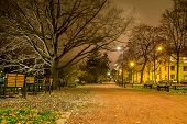 Gravel Path At A City Park At Night