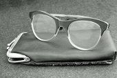 Elderly Old Glasses With Black Leather Case