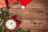 stock photo of snow border  - Christmas background with clock - JPG