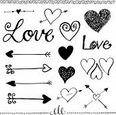 Ink Hand-drawn Doodle Love Set. Heart And Arrow.