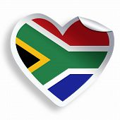 Heart Sticker With Flag Of South Africa Isolated On White