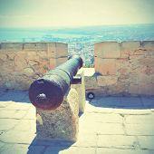 Old cannon in Santa Barbara fortress, Alicante, Spain.  Instagram style filtred image