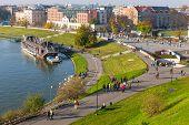 Krakow, Poland - November 02: View From Royal Wawel Castle Area In Krakow On November 02, 2014. Krak