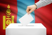 Voting Concept - Ballot Box With National Flag On Background - Mongolia