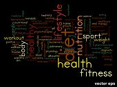 Vector eps concept or conceptual abstract diet and health word cloud or wordcloud on black background