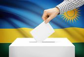 Voting Concept - Ballot Box With National Flag On Background - Rwanda