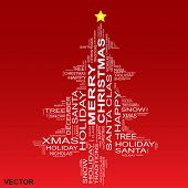Vector concept or conceptual white Merry Christmas tree isolated on a red background made of text or words wordcloud