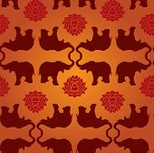 Elephant Lotus Seamless Pattern
