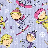 Winter sports, vector cartoon sportsmen seamless pattern