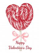 Valentine's day card with hand drawn lollipop heart