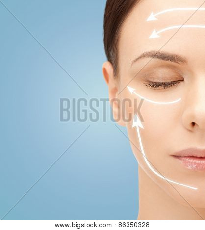 poster of beauty, people, skincare and plastic surgery concept - beautiful young woman face with facelift mark