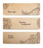 image of paper craft  - Vintage old paper texture background with set of floral ornamental fish banners scrapbooking victorian gift and goods tags collection hand drawn vector illustration isolated on white transparent shadows - JPG