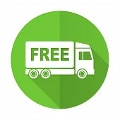 stock photo of free-trade  - free delivery green flat icon transport sign
