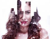 picture of ladies night  - Double exposure of a beautiful girl and night cityscape - JPG