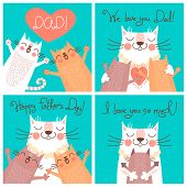 stock photo of baby cat  - Sweet cards for Fathers Day with cats - JPG
