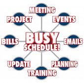 pic of tasks  - Busy Schedule at the center of a grid showing tasks - JPG