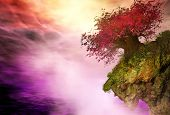 pic of rocking  - 3D illustration of landscape with a big red tree on a rock - JPG