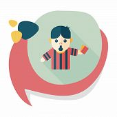 foto of referee  - Soccer Referee Flat Icon With Long Shadow - JPG