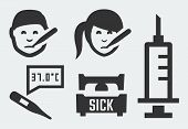 picture of flu shot  - Sickness related vector icons set on grey background - JPG