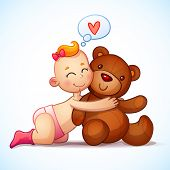 stock photo of teddy  - Baby girl redhead hugs  Teddy Bear toy on a white background - JPG
