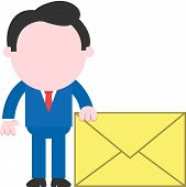 stock photo of faceless  - Hand on side cartoon faceless businessman standing beside holding big mail icon - JPG