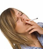 picture of smoking woman  - Young woman smoking cigarette isolated on white - JPG