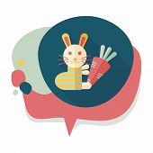 pic of cony  - Rabbit With Carrot Flat Icon With Long Shadow - JPG