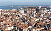 image of overpopulation  - Venice Italy Venetian rooftops and the huge Church - JPG